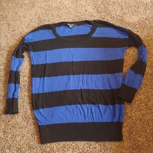 Forever 21 black&blue striped juniors sweater